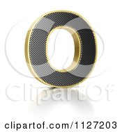Clipart Of A 3d Gold Rimmed Perforated Metal Letter O Royalty Free CGI Illustration by stockillustrations