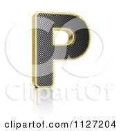 Clipart Of A 3d Gold Rimmed Perforated Metal Letter P Royalty Free CGI Illustration