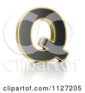 Clipart Of A 3d Gold Rimmed Perforated Metal Letter Q Royalty Free CGI Illustration by stockillustrations