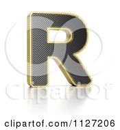 Clipart Of A 3d Gold Rimmed Perforated Metal Letter R Royalty Free CGI Illustration by stockillustrations