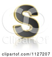 Clipart Of A 3d Gold Rimmed Perforated Metal Letter S Royalty Free CGI Illustration by stockillustrations