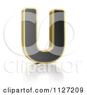 Clipart Of A 3d Gold Rimmed Perforated Metal Letter U Royalty Free CGI Illustration by stockillustrations