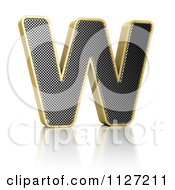 Clipart Of A 3d Gold Rimmed Perforated Metal Letter W Royalty Free CGI Illustration
