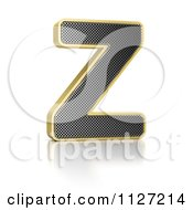 Clipart Of A 3d Gold Rimmed Perforated Metal Letter Z Royalty Free CGI Illustration by stockillustrations