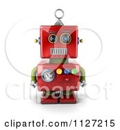 Clipart Of A 3d Neutral Faced Red Robot Royalty Free CGI Illustration by stockillustrations