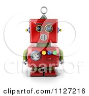 Clipart Of A 3d Surprised Red Metal Robot Royalty Free CGI Illustration by stockillustrations