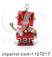 Clipart Of A 3d Waving Red Metal Robot Royalty Free CGI Illustration
