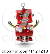 Clipart Of A 3d Excited Happy Jumping Red Metal Robot Royalty Free CGI Illustration