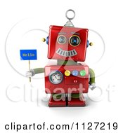 Clipart Of A 3d Red Metal Robot Holding A Hello Sign Royalty Free CGI Illustration by stockillustrations