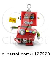 Clipart Of A 3d Red Metal Robot Holding A Party Sign Royalty Free CGI Illustration by stockillustrations