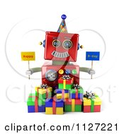 Clipart Of A 3d Red Robot Holding Happy Bday Signs Royalty Free CGI Illustration by stockillustrations