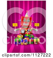 Clipart Of A 3d Red Robot Holding Happy Bday Signs Over Gift Boxes On Pink Stripes Royalty Free CGI Illustration