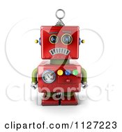 Clipart Of A 3d Sad Red Metal Robot Royalty Free CGI Illustration