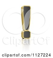 Clipart Of A 3d Gold Rimmed Perforated Metal Exclamation Point Royalty Free CGI Illustration