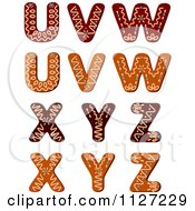 Clipart Of A Christmas Gingerbread Cookie Letters U Through Z Royalty Free Vector Illustration
