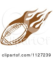 Clipart Of A Brown American Football With Tribal Flames 4 Royalty Free Vector Illustration by Vector Tradition SM