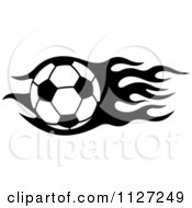 Clipart Of A Black And White Soccer Ball With Tribal Flames 7 Royalty Free Vector Illustration