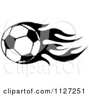 Clipart Of A Black And White Soccer Ball With Tribal Flames 8 Royalty Free Vector Illustration