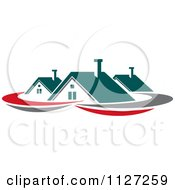 Clipart Of Houses With Roof Tops 3 Royalty Free Vector Illustration