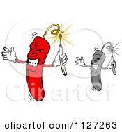 Clipart Of Angry Dynamite Mascots Using Matches To Light Fuses Royalty Free Vector Illustration