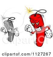 Clipart Of Red And Grayscale Angry Dynamite Mascots Royalty Free Vector Illustration
