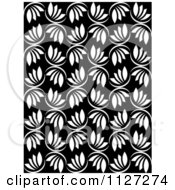 Clipart Of A Seamless Black And White Leaf Background Pattern Royalty Free Vector Illustration