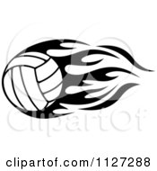Clipart Of A Black And White Volleyball With Tribal Flames 3 Royalty Free Vector Illustration