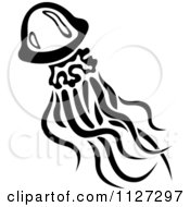 Clipart Of A Black And White Jellyfish 4 Royalty Free Vector Illustration