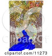 Beautiful Woman Kneeling In A Blue Dress With Scenes And Things In Her Big Hair Alfons Maria Mucha Inspired Clipart Picture by AtStockIllustration