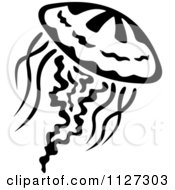 Clipart Of A Black And White Jellyfish 3 Royalty Free Vector Illustration by Vector Tradition SM