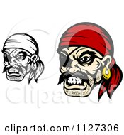 Clipart Of Angry Pirate Faces With Eye Patches And Bandanas Royalty Free Vector Illustration