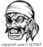 Clipart Of An Angry Black And White Pirate Face With An Eye Patch And Bandana Royalty Free Vector Illustration