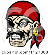 Clipart Of An Angry Pirate Face With An Eye Patch And Bandana Royalty Free Vector Illustration by Vector Tradition SM