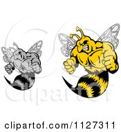 Clipart Of Grayscale And Colored Buff Angry Wasps Royalty Free Vector Illustration