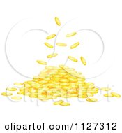 Clipart Of Gold Coins Falling Into A Pile Royalty Free Vector Illustration