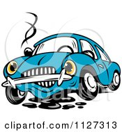 Clipart Of A Worried Broken Down Blue Car Royalty Free Vector Illustration
