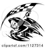 Clipart Of A Black And White Grim Reaper With A Racing Flag Scythe Royalty Free Vector Illustration