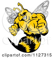 Clipart Of A Buff Angry Wasp Royalty Free Vector Illustration by Vector Tradition SM
