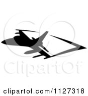 Clipart Of A Black Silhouetted Airplane And Trails 6 Royalty Free Vector Illustration