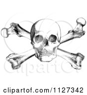Clipart Of A Retro Black And White Skull And Cross Bones Royalty Free Vector Illustration