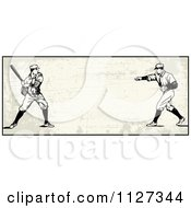 Clipart Of A Retro Baseball Batter And Pitcher Banner Over Tan With Copyspace Royalty Free Vector Illustration