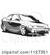Clipart Of A Black And White Nissan Lucino Car Royalty Free Vector Illustration