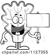 Cartoon Of An Outlined Lettuce Mascot Holding A Sign Royalty Free Vector Clipart