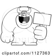 Cartoon Of An Outlined Buff Bull Holding A Sign 2 Royalty Free Vector Clipart