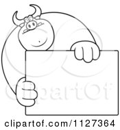 Cartoon Of An Outlined Buff Bull Holding A Sign 1 Royalty Free Vector Clipart