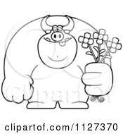 Cartoon Of An Outlined Buff Bull Holding Flowers Royalty Free Vector Clipart by Cory Thoman