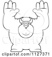 Cartoon Of An Outlined Buff Bull Giving Up Royalty Free Vector Clipart