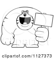 Cartoon Of An Outlined Buff Cat Holding A Sign 2 Royalty Free Vector Clipart