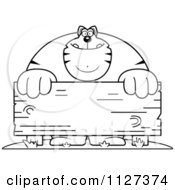 Cartoon Of An Outlined Buff Cat Behind A Wooden Sign Royalty Free Vector Clipart by Cory Thoman