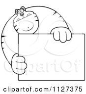 Cartoon Of An Outlined Buff Cat Holding A Sign 1 Royalty Free Vector Clipart